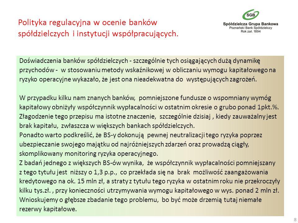 Polityka regulacyjna w ocenie banków spółdzielczych i instytucji współpracujących. Doświadczenia banków spółdzielczych - szczególnie tych osiągających