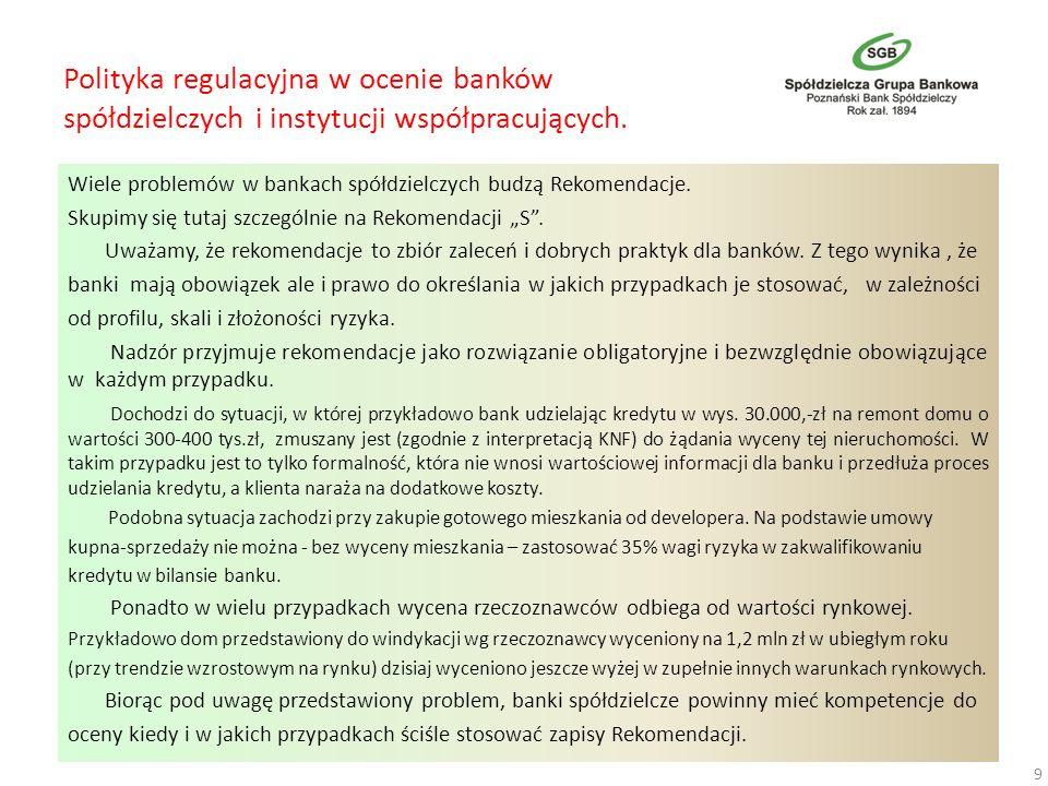 Polityka regulacyjna w ocenie banków spółdzielczych i instytucji współpracujących. Wiele problemów w bankach spółdzielczych budzą Rekomendacje. Skupim