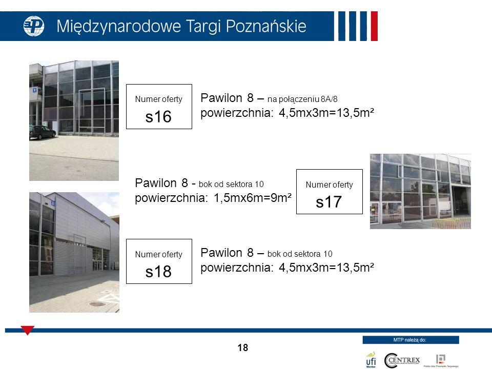 18 Pawilon 8 – na połączeniu 8A/8 powierzchnia: 4,5mx3m=13,5m² Pawilon 8 - bok od sektora 10 powierzchnia: 1,5mx6m=9m² Pawilon 8 – bok od sektora 10 p