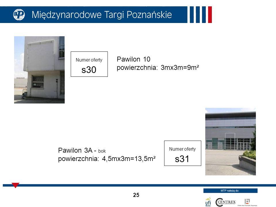 25 Pawilon 10 powierzchnia: 3mx3m=9m² Numer oferty s30 Numer oferty s31 Pawilon 3A - bok powierzchnia: 4,5mx3m=13,5m²