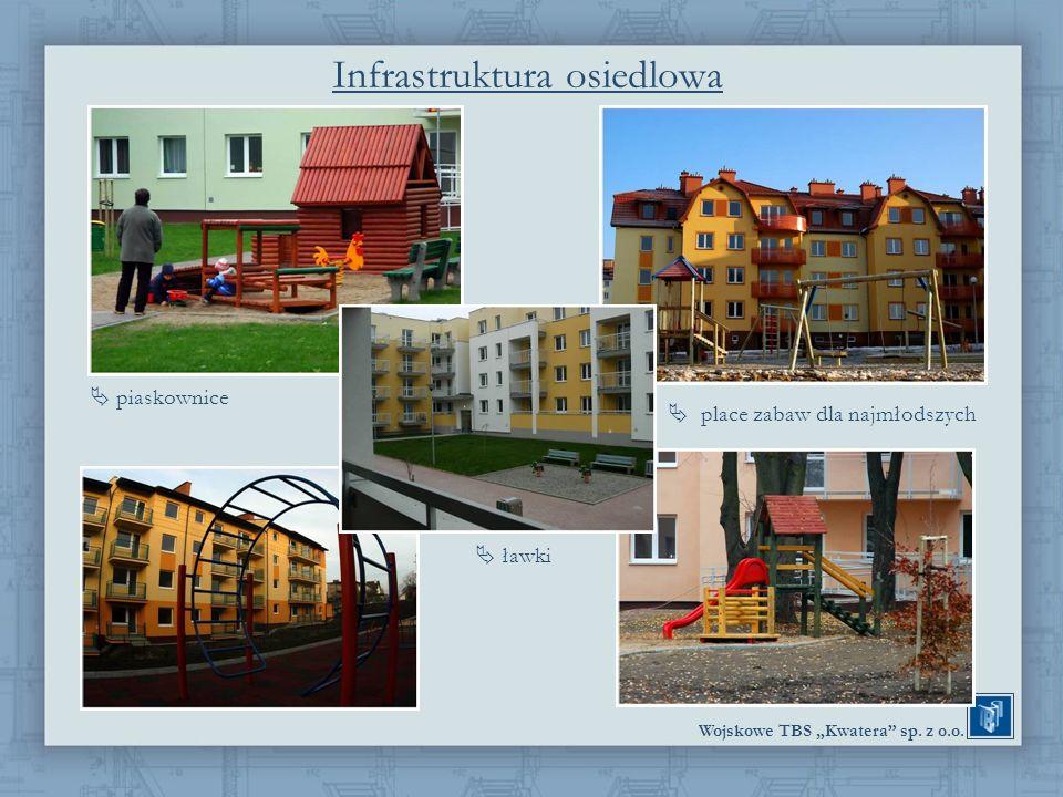 Wojskowe TBS Kwatera sp. z o.o. Infrastruktura osiedlowa piaskownice place zabaw dla najmłodszych ławki