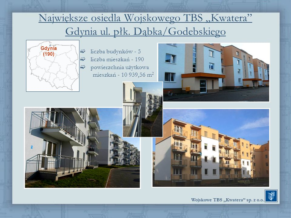 Wojskowe TBS Kwatera sp. z o.o. Największe osiedla Wojskowego TBS Kwatera Gdynia ul. płk. Dąbka/Godebskiego liczba budynków - 5 liczba mieszkań - 190