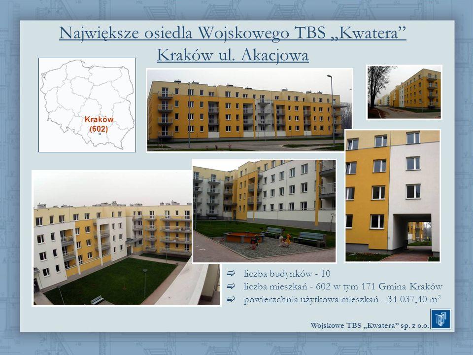 Wojskowe TBS Kwatera sp. z o.o. Największe osiedla Wojskowego TBS Kwatera Kraków ul. Akacjowa liczba budynków - 10 liczba mieszkań - 602 w tym 171 Gmi