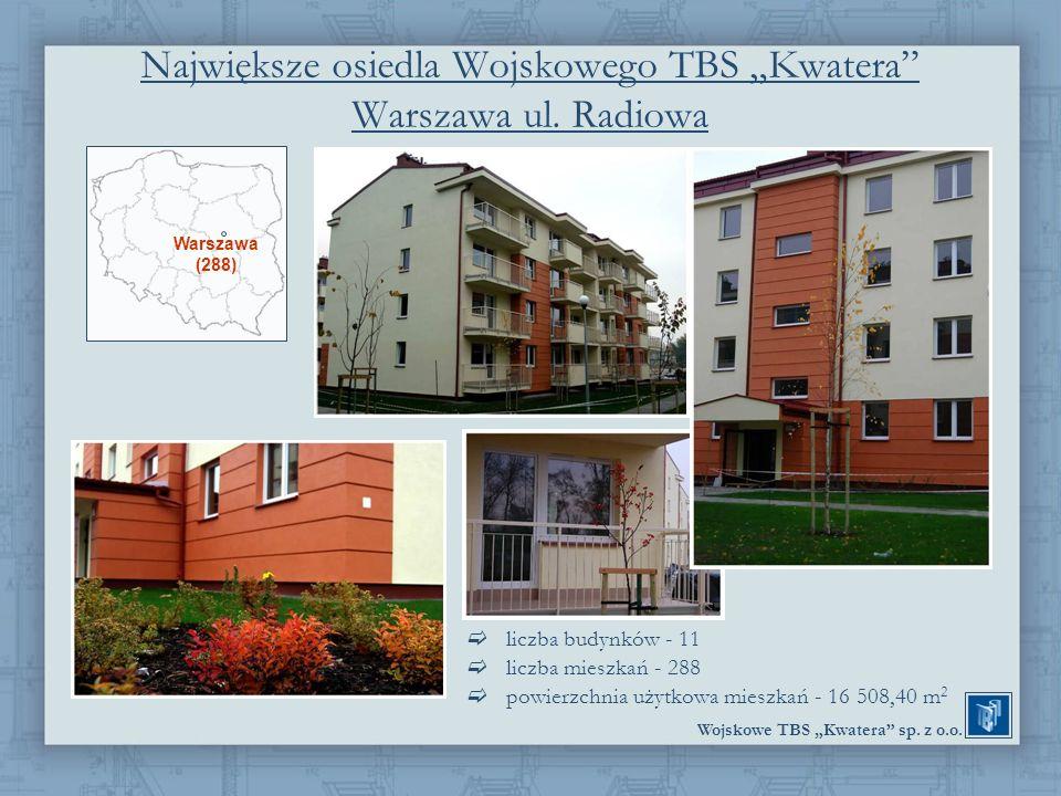 Wojskowe TBS Kwatera sp. z o.o. Największe osiedla Wojskowego TBS Kwatera Warszawa ul. Radiowa liczba budynków - 11 liczba mieszkań - 288 powierzchnia
