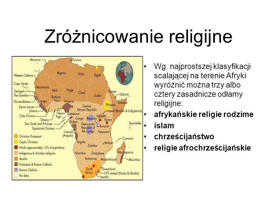 Zróżnicowanie religijne Wg. najprostszej klasyfikacji scalającej na terenie Afryki wyróżnić można trzy albo cztery zasadnicze odłamy religijne: afryka