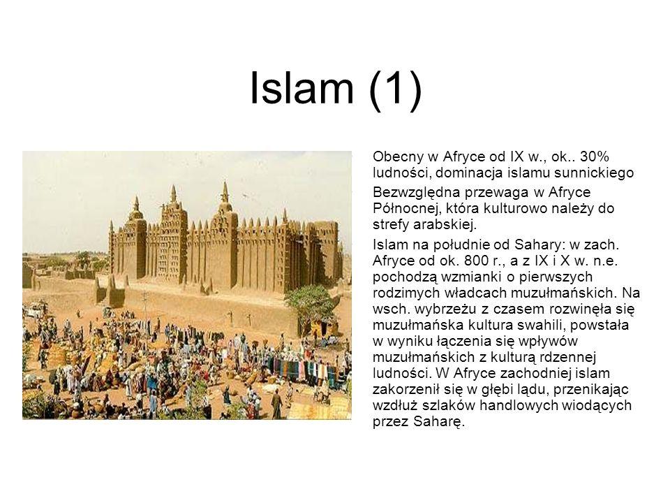 Islam (1) Obecny w Afryce od IX w., ok.. 30% ludności, dominacja islamu sunnickiego Bezwzględna przewaga w Afryce Północnej, która kulturowo należy do