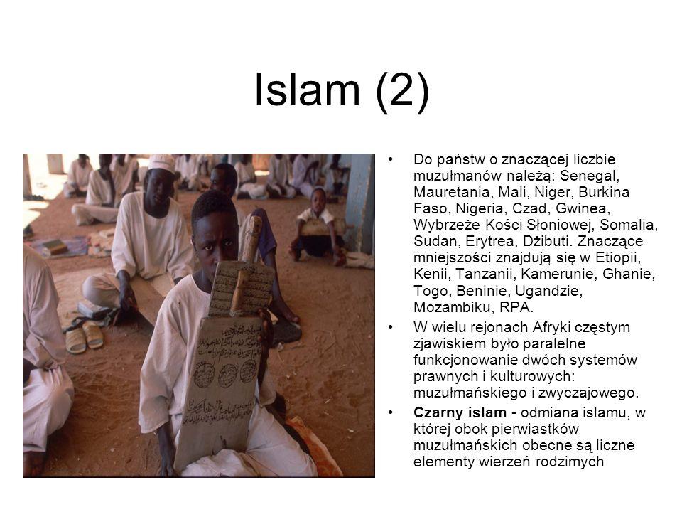Islam (2) Do państw o znaczącej liczbie muzułmanów należą: Senegal, Mauretania, Mali, Niger, Burkina Faso, Nigeria, Czad, Gwinea, Wybrzeże Kości Słoni