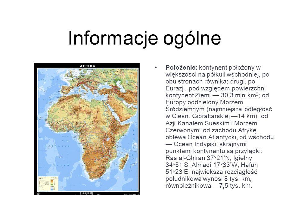 Informacje ogólne Położenie: kontynent położony w większości na półkuli wschodniej, po obu stronach równika; drugi, po Eurazji, pod względem powierzch