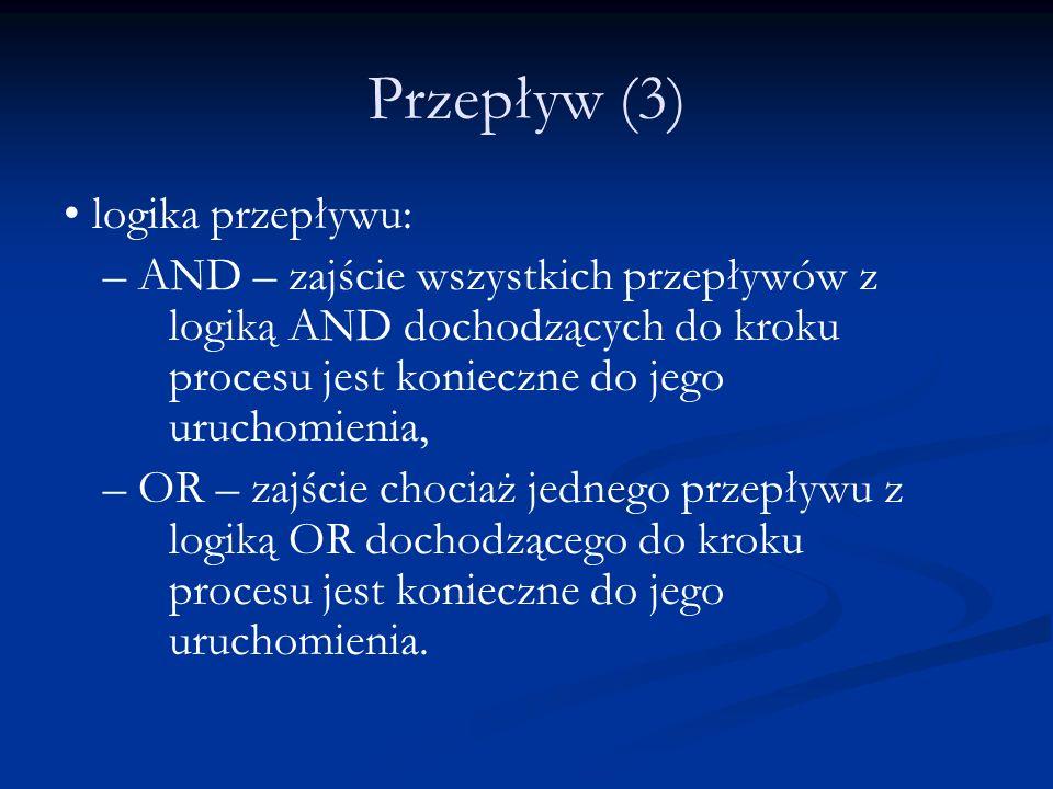 Przepływ (3) logika przepływu: – AND – zajście wszystkich przepływów z logiką AND dochodzących do kroku procesu jest konieczne do jego uruchomienia, –