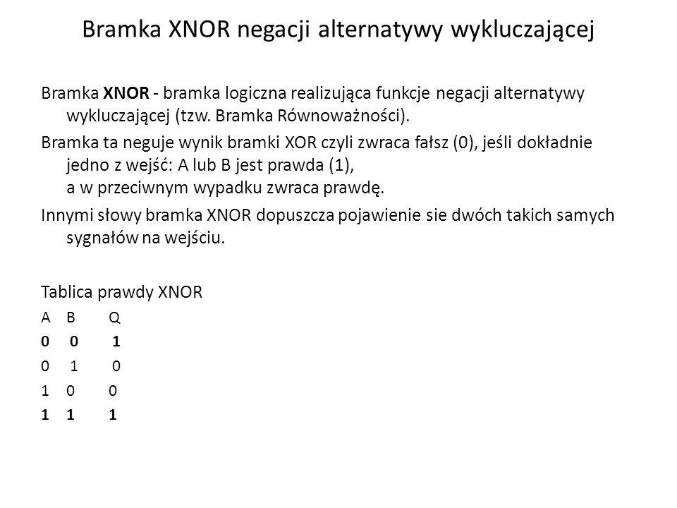 Bramka XNOR negacji alternatywy wykluczającej Bramka XNOR - bramka logiczna realizująca funkcje negacji alternatywy wykluczającej (tzw. Bramka Równowa