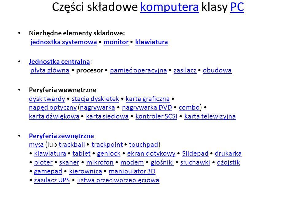 Części składowe komputera klasy PCkomputeraPC Niezbędne elementy składowe: jednostka systemowa monitor klawiaturajednostka systemowamonitorklawiatura