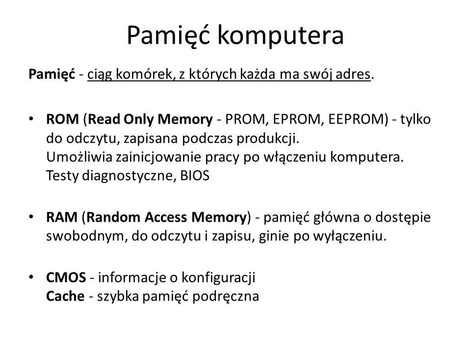 Pamięć komputera Pamięć - ciąg komórek, z których każda ma swój adres. ROM (Read Only Memory - PROM, EPROM, EEPROM) - tylko do odczytu, zapisana podcz