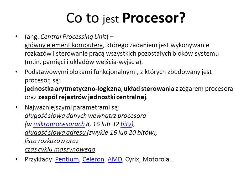 Co to jest Procesor? (ang. Central Processing Unit) – główny element komputera, którego zadaniem jest wykonywanie rozkazów i sterowanie pracą wszystki