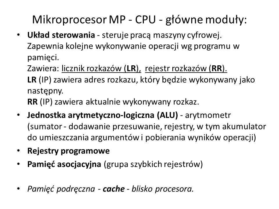 Mikroprocesor MP - CPU - główne moduły: Układ sterowania - steruje pracą maszyny cyfrowej. Zapewnia kolejne wykonywanie operacji wg programu w pamięci