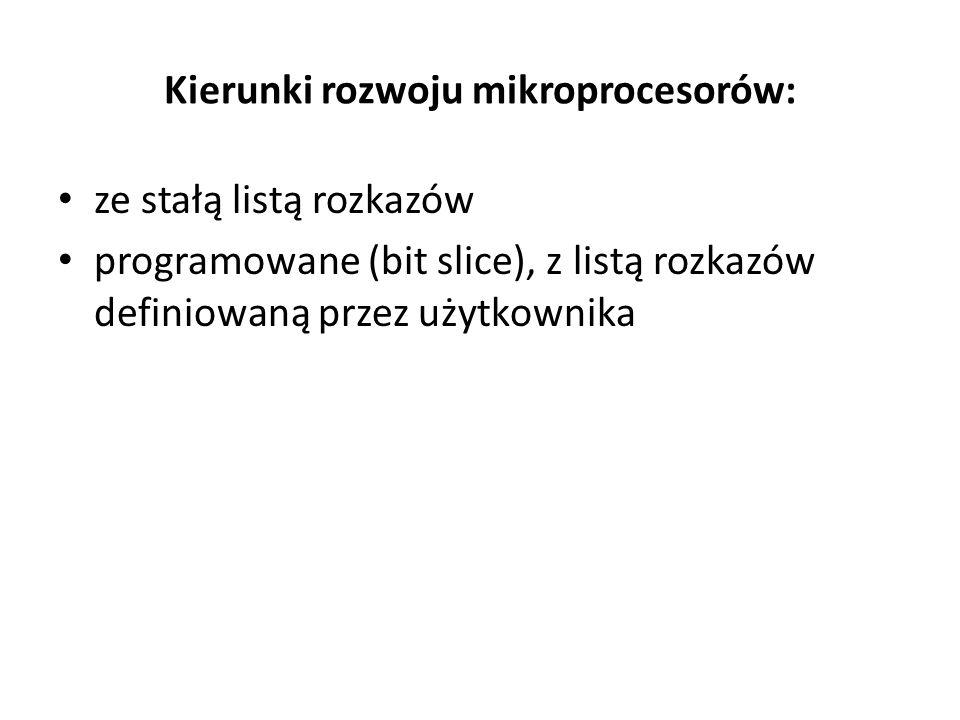 Kierunki rozwoju mikroprocesorów: ze stałą listą rozkazów programowane (bit slice), z listą rozkazów definiowaną przez użytkownika