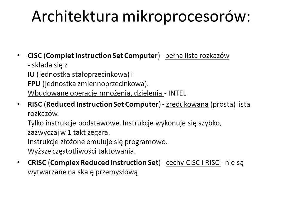 Architektura mikroprocesorów: CISC (Complet Instruction Set Computer) - pełna lista rozkazów - składa się z IU (jednostka stałoprzecinkowa) i FPU (jed