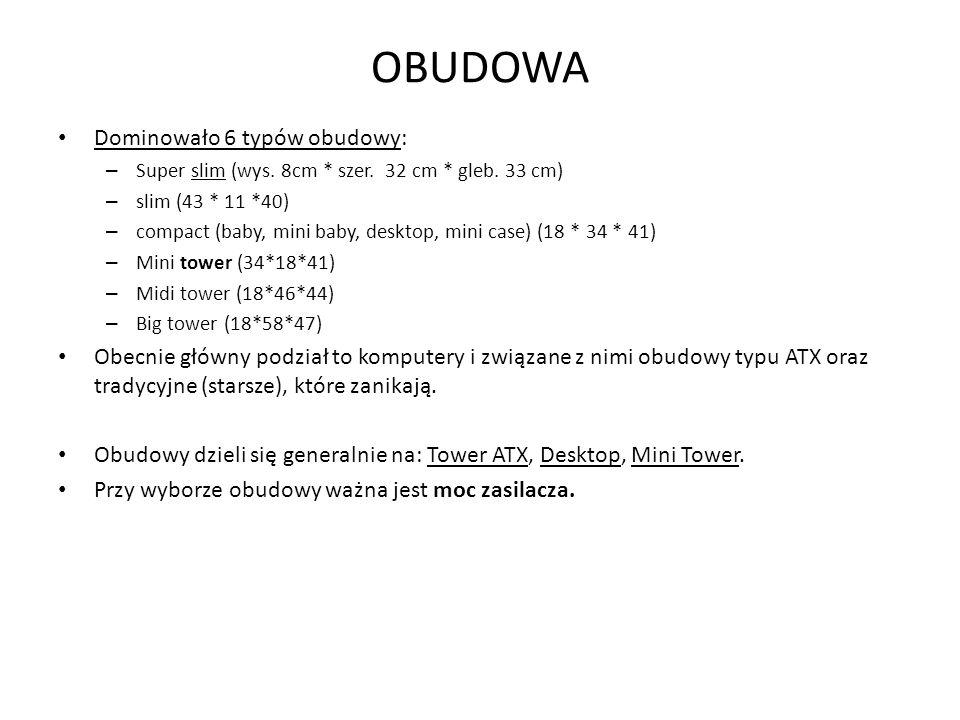 OBUDOWA Dominowało 6 typów obudowy: – Super slim (wys. 8cm * szer. 32 cm * gleb. 33 cm) – slim (43 * 11 *40) – compact (baby, mini baby, desktop, mini