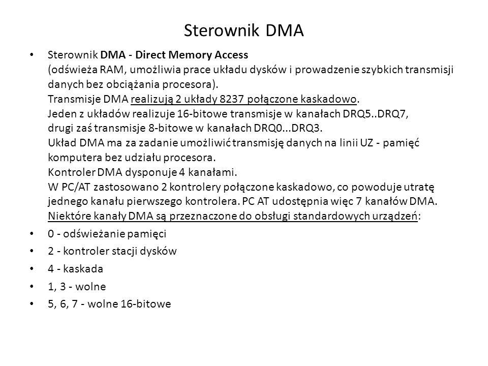 Sterownik DMA Sterownik DMA - Direct Memory Access (odświeża RAM, umożliwia prace układu dysków i prowadzenie szybkich transmisji danych bez obciążani