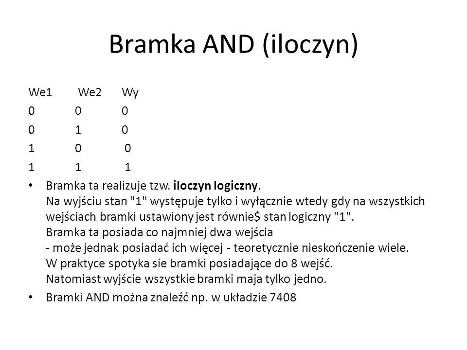 Bramka AND (iloczyn) We1 We2 Wy 0 0 0 0 1 0 1 0 0 1 1 1 Bramka ta realizuje tzw. iloczyn logiczny. Na wyjściu stan