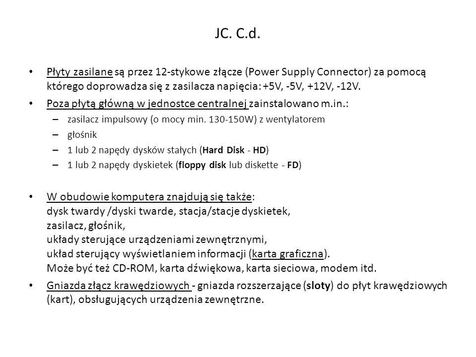 JC. C.d. Płyty zasilane są przez 12-stykowe złącze (Power Supply Connector) za pomocą którego doprowadza się z zasilacza napięcia: +5V, -5V, +12V, -12