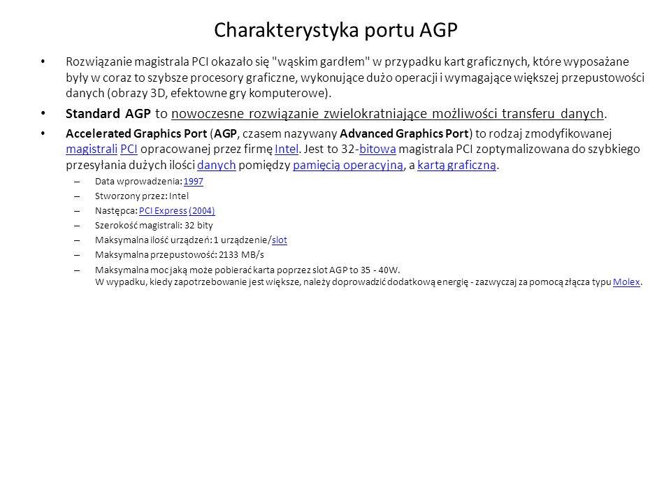 Charakterystyka portu AGP Rozwiązanie magistrala PCI okazało się