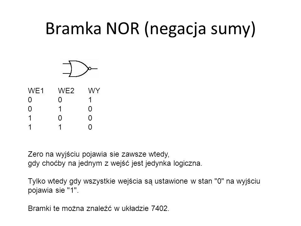 Bramka NOR (negacja sumy) WE1 WE2 WY 001 010 100 1 10 Zero na wyjściu pojawia sie zawsze wtedy, gdy choćby na jednym z wejść jest jedynka logiczna. Ty