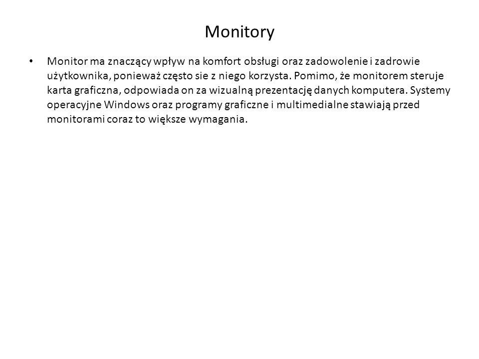Monitory Monitor ma znaczący wpływ na komfort obsługi oraz zadowolenie i zadrowie użytkownika, ponieważ często sie z niego korzysta. Pomimo, że monito