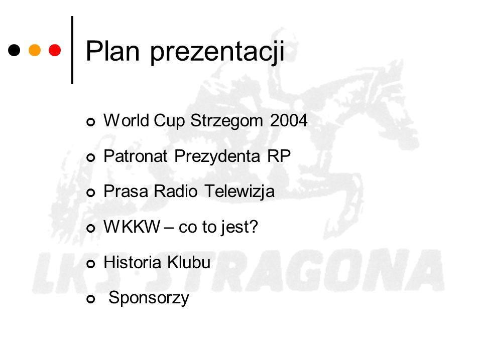 Plan prezentacji World Cup Strzegom 2004 Patronat Prezydenta RP Prasa Radio Telewizja WKKW – co to jest? Historia Klubu Sponsorzy