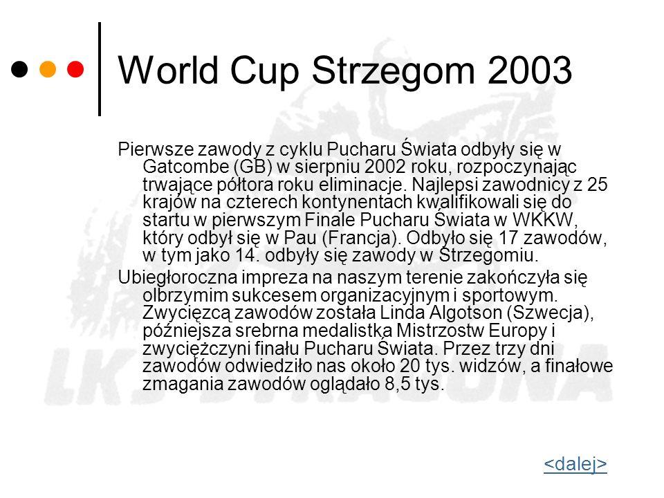World Cup Strzegom 2003 Pierwsze zawody z cyklu Pucharu Świata odbyły się w Gatcombe (GB) w sierpniu 2002 roku, rozpoczynając trwające półtora roku el