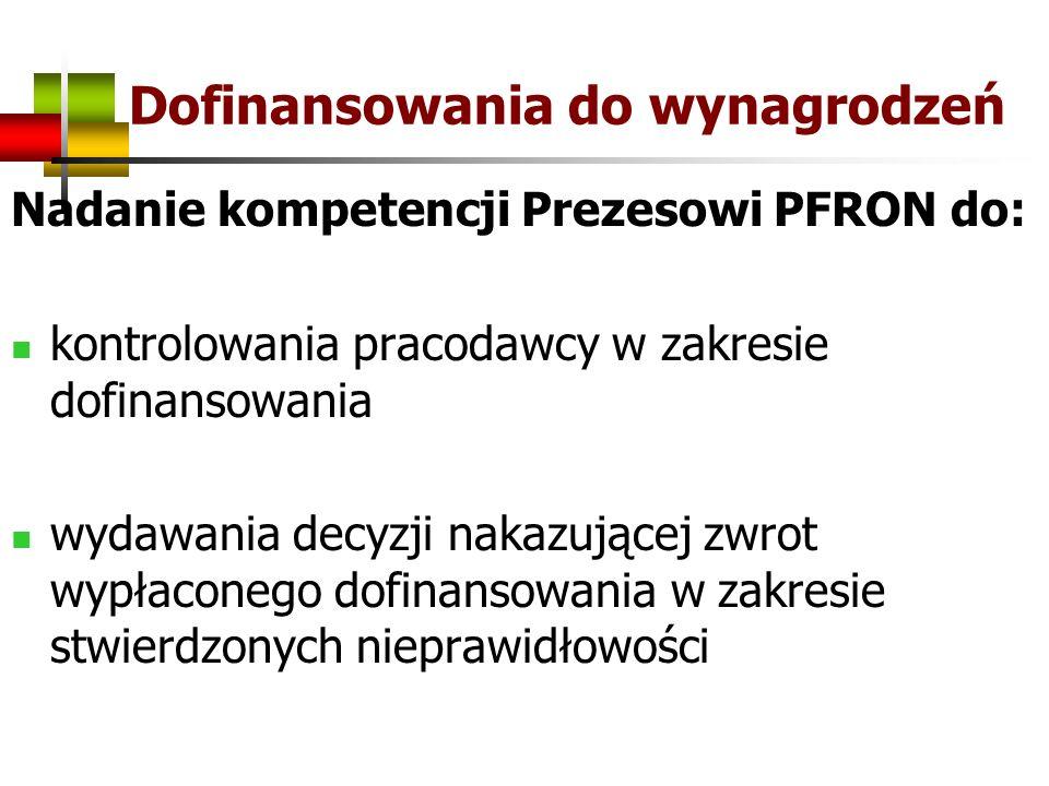 Dofinansowania do wynagrodzeń Nadanie kompetencji Prezesowi PFRON do: kontrolowania pracodawcy w zakresie dofinansowania wydawania decyzji nakazującej