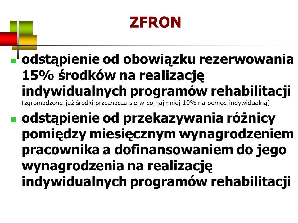 ZFRON odstąpienie od obowiązku rezerwowania 15% środków na realizację indywidualnych programów rehabilitacji (zgromadzone już środki przeznacza się w