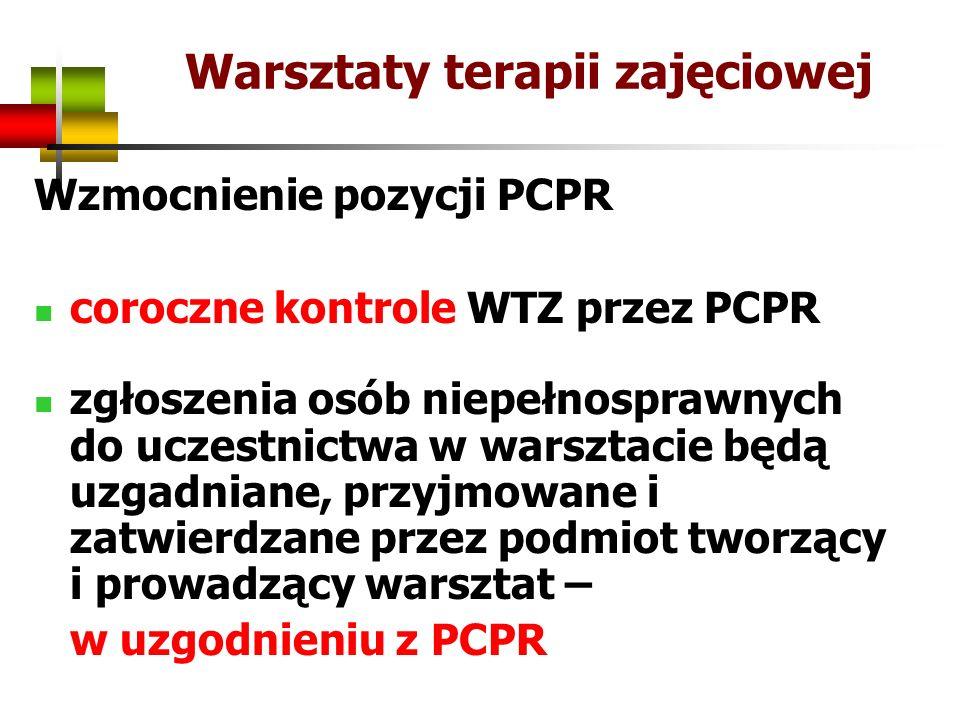 Warsztaty terapii zajęciowej Wzmocnienie pozycji PCPR coroczne kontrole WTZ przez PCPR zgłoszenia osób niepełnosprawnych do uczestnictwa w warsztacie