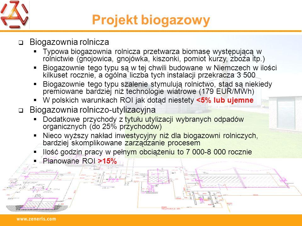Projekt biogazowy Biogazownia rolnicza Typowa biogazownia rolnicza przetwarza biomasę występującą w rolnictwie (gnojowica, gnojówka, kiszonki, pomiot