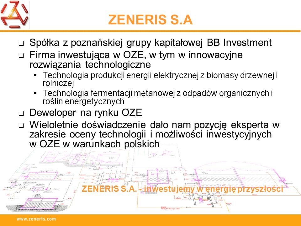 ZENERIS S.A Spółka z poznańskiej grupy kapitałowej BB Investment Firma inwestująca w OZE, w tym w innowacyjne rozwiązania technologiczne Technologia p