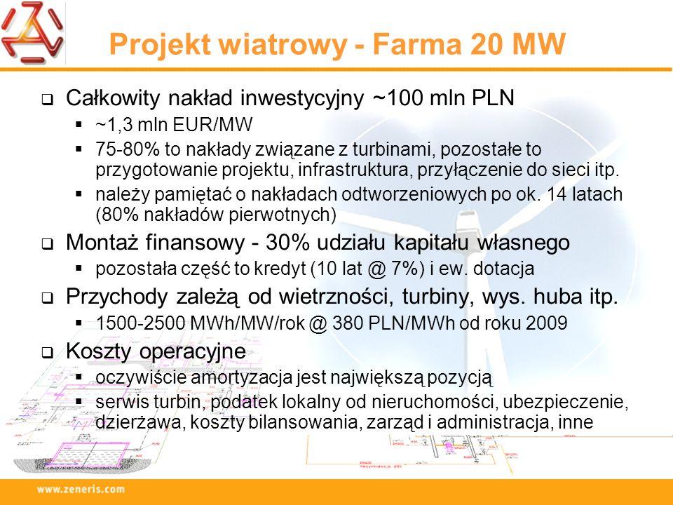 Projekt wiatrowy - Farma 20 MW Całkowity nakład inwestycyjny ~100 mln PLN ~1,3 mln EUR/MW 75-80% to nakłady związane z turbinami, pozostałe to przygot