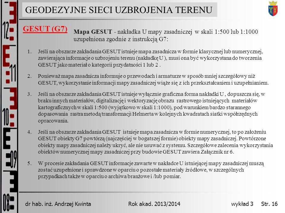GEODEZJA INŻYNIERYJNA Rok akad. 2013/2014dr hab. inż. Andrzej Kwinta wykład 3 Str. 16 GEODEZYJNE SIECI UZBROJENIA TERENU GESUT (G7) Mapa GESUT - nakła