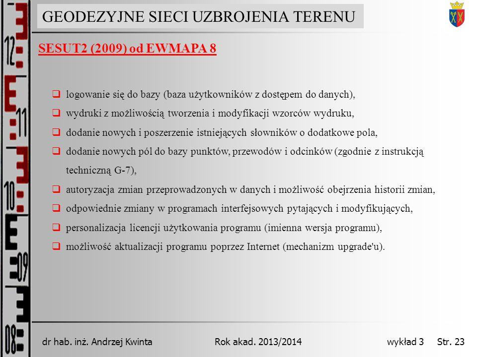 GEODEZJA INŻYNIERYJNA Rok akad. 2013/2014dr hab. inż. Andrzej Kwinta wykład 3 Str. 23 GEODEZYJNE SIECI UZBROJENIA TERENU SESUT2 (2009) od EWMAPA 8 log