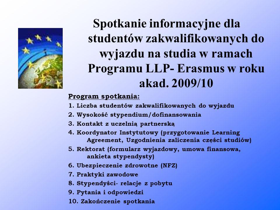 Spotkanie informacyjne dla studentów zakwalifikowanych do wyjazdu na studia w ramach Programu LLP- Erasmus w roku akad. 2009/10 Program spotkania: 1.