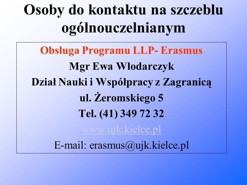 Osoby do kontaktu na szczeblu ogólnouczelnianym Obsługa Programu LLP- Erasmus Mgr Ewa Włodarczyk Dział Nauki i Współpracy z Zagranicą ul. Żeromskiego