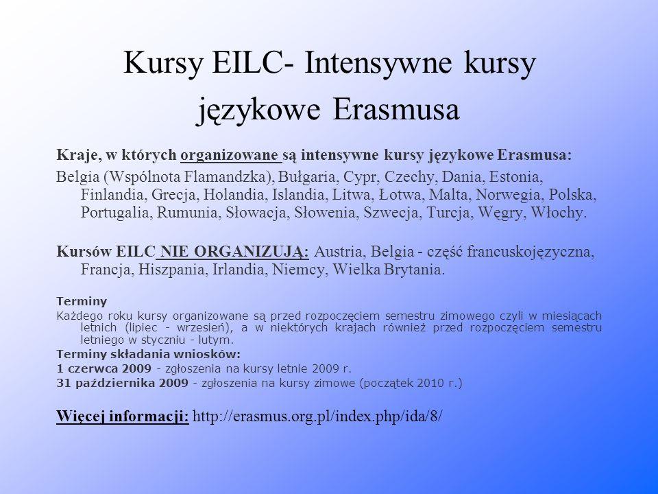 Kursy EILC- Intensywne kursy językowe Erasmusa Kraje, w których organizowane są intensywne kursy językowe Erasmusa: Belgia (Wspólnota Flamandzka), Buł