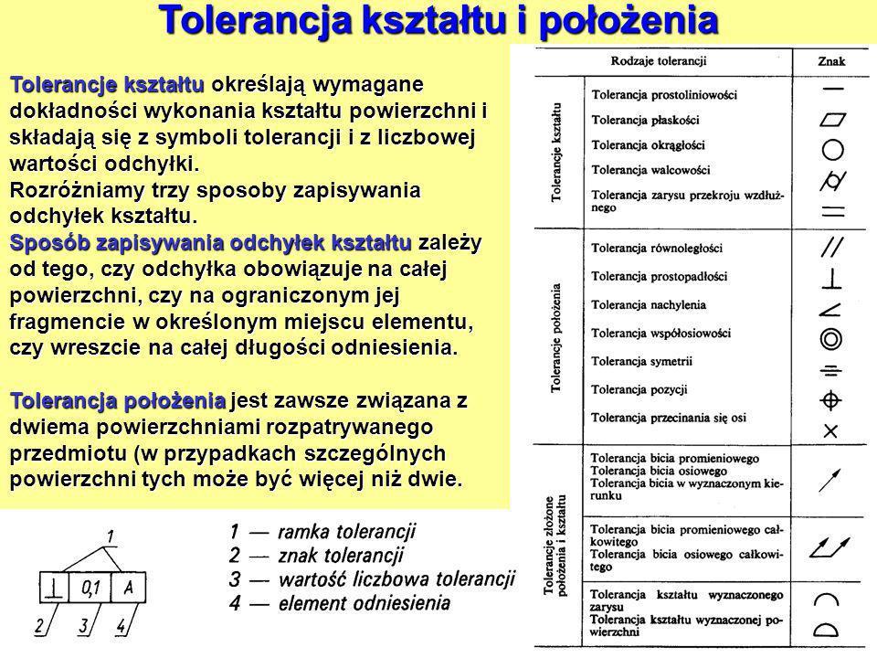 Tolerancja kształtu i położenia Tolerancje kształtu określają wymagane dokładności wykonania kształtu powierzchni i składają się z symboli tolerancji