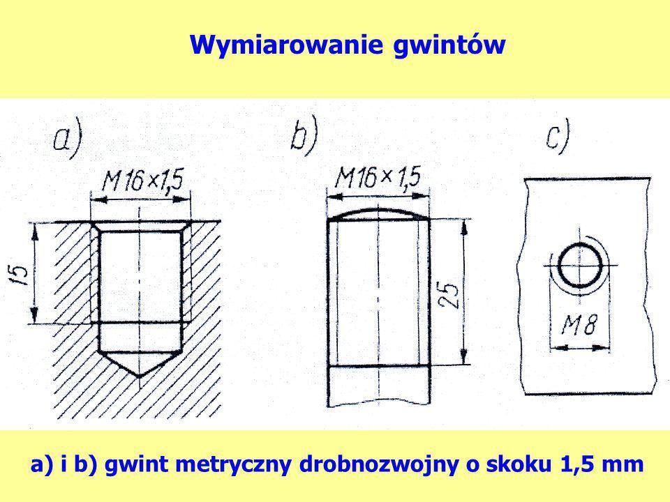 a) i b) gwint metryczny drobnozwojny o skoku 1,5 mm Wymiarowanie gwintów