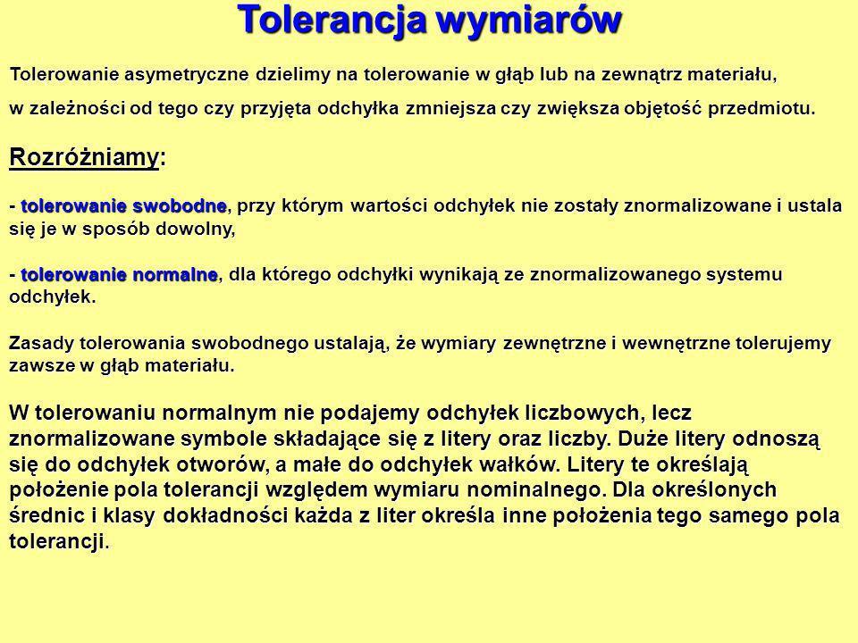 Tolerancja wymiarów Tolerowanie asymetryczne dzielimy na tolerowanie w głąb lub na zewnątrz materiału, w zależności od tego czy przyjęta odchyłka zmni