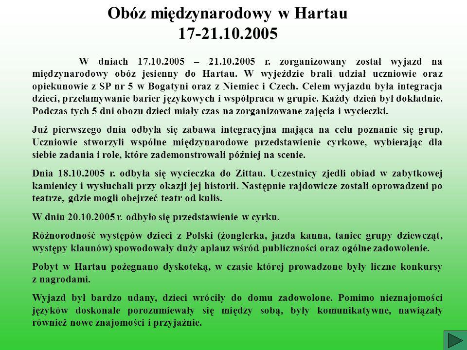 Obóz międzynarodowy w Hartau 17-21.10.2005 W dniach 17.10.2005 – 21.10.2005 r. zorganizowany został wyjazd na międzynarodowy obóz jesienny do Hartau.