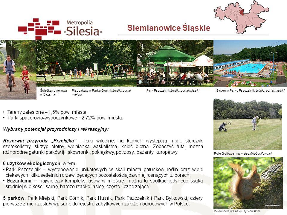 Siemianowice Śląskie Tereny zalesione – 1,5% pow. miasta, Parki spacerowo-wypoczynkowe – 2,72% pow. miasta. Wybrany potencjał przyrodniczy i rekreacyj