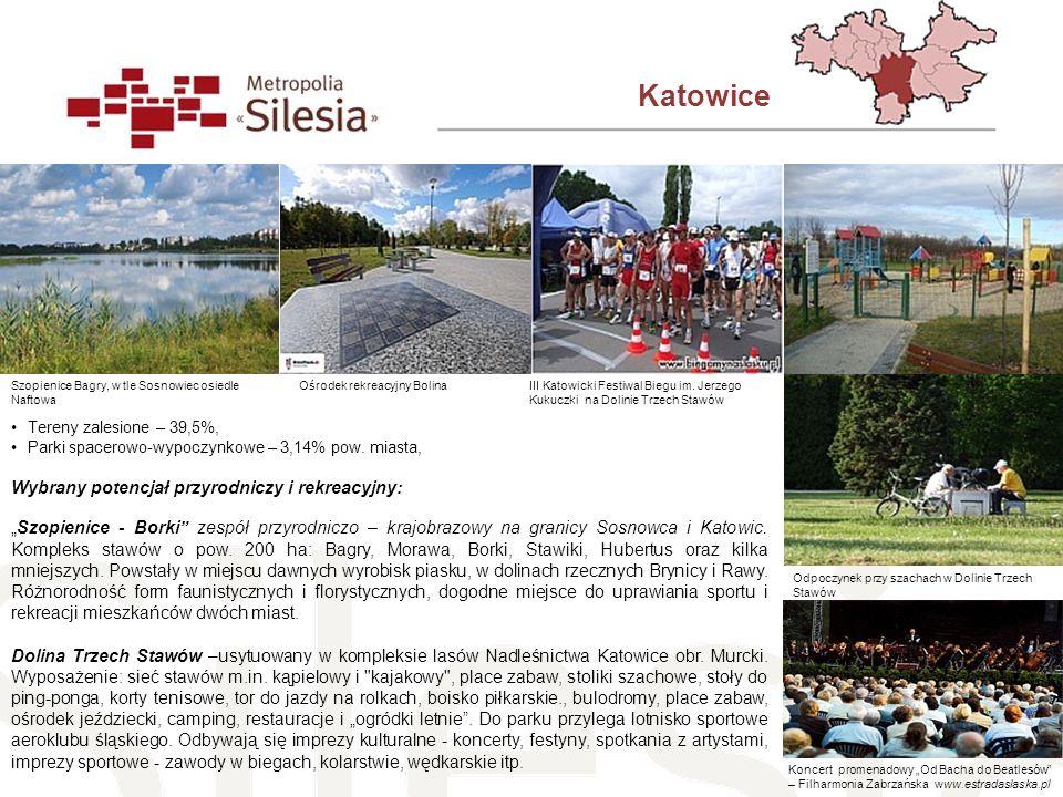 Katowice Tereny zalesione – 39,5%, Parki spacerowo-wypoczynkowe – 3,14% pow. miasta, Wybrany potencjał przyrodniczy i rekreacyjny: Szopienice - Borki