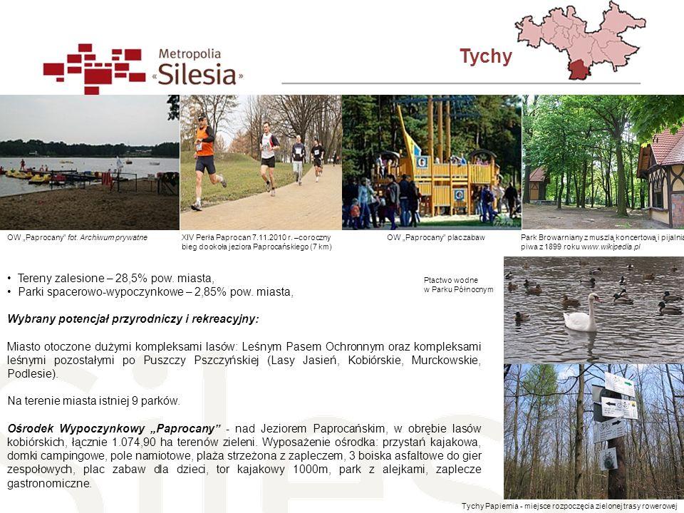 Tychy Tereny zalesione – 28,5% pow. miasta, Parki spacerowo-wypoczynkowe – 2,85% pow. miasta, Wybrany potencjał przyrodniczy i rekreacyjny: Miasto oto
