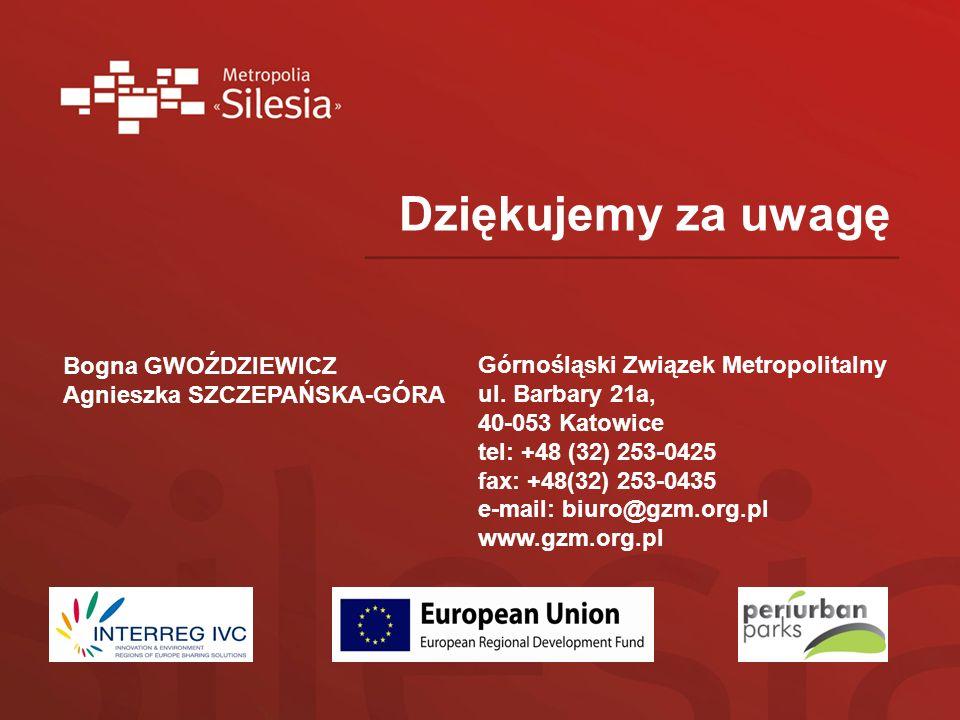 Dziękujemy za uwagę Górnośląski Związek Metropolitalny ul. Barbary 21a, 40-053 Katowice tel: +48 (32) 253-0425 fax: +48(32) 253-0435 e-mail: biuro@gzm