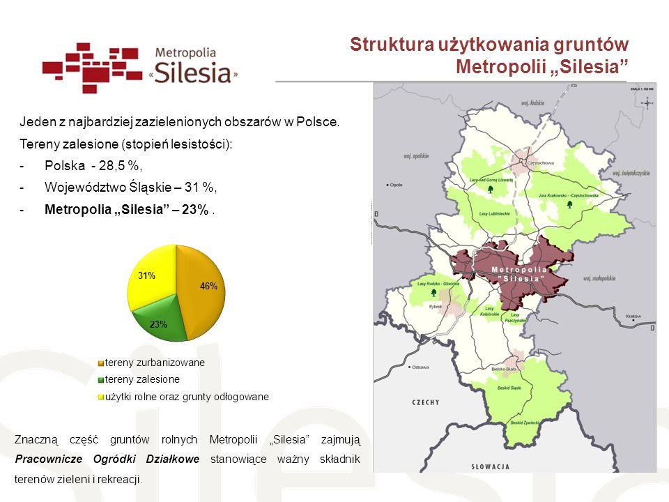 Jeden z najbardziej zazielenionych obszarów w Polsce. Tereny zalesione (stopień lesistości): -Polska - 28,5 %, -Województwo Śląskie – 31 %, -Metropoli