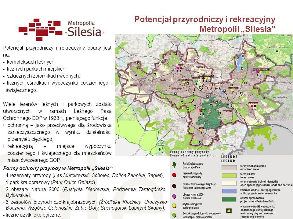 Formy ochrony przyrody w Metropolii Silesia: -4 rezerwaty przyrody (Las Murckowski, Ochojec, Dolina Żabnika, Segiet), -1 park krajobrazowy (Park Orlic